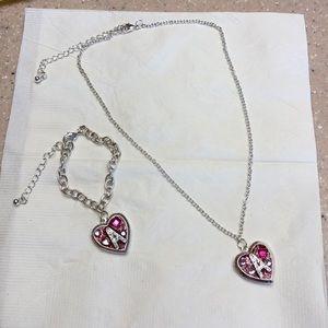 "Girl's locket necklace and bracelet ""A"""